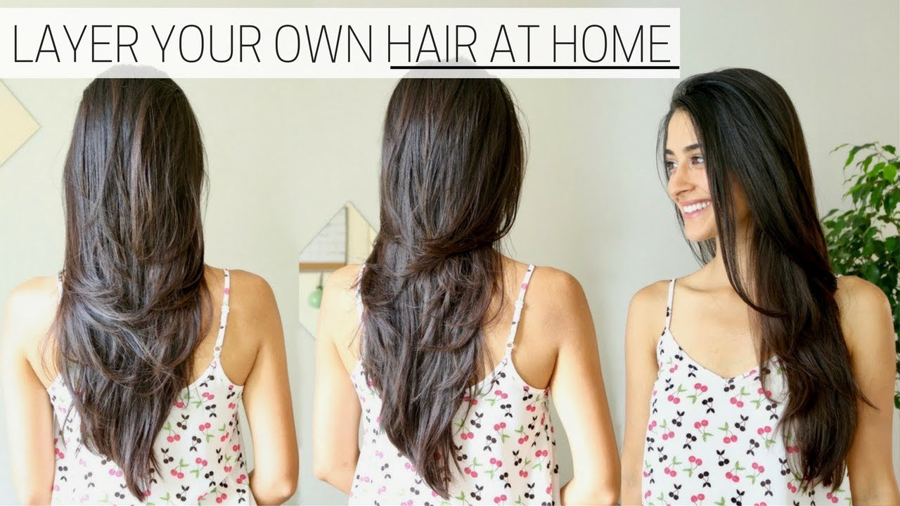 How I Cut Layer My Hair At Home Diy Long Layers Haircut Youtube