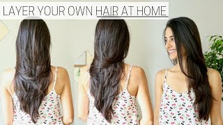 HOW I CUT & LAYER MY HAIR AT HOME » diy long layers haircut