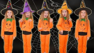 Five little babies jumping on the bed for Halloween / Good song for children