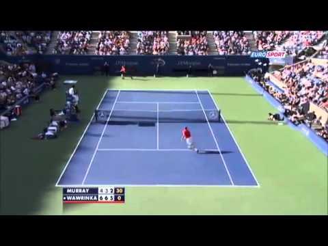 Wawrinka amazing smash ~ Stanislas Wawrinka vs Andy Murray ~ US Open 2013 QF)