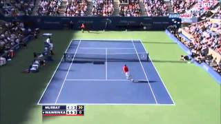 Wawrinka amazing smash ~ Stanislas Wawrinka vs Andy Murray ~ US Open 2013 QF)