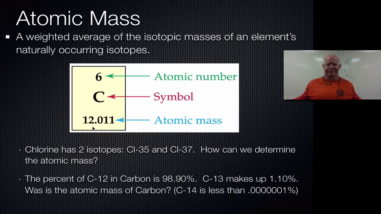 atom and mass The number of protons is the atomic number: 4, and the mass is protons + neutrons so, 4+5= 9 this is be-9 where the 9 is the atomic mass of this isotope.