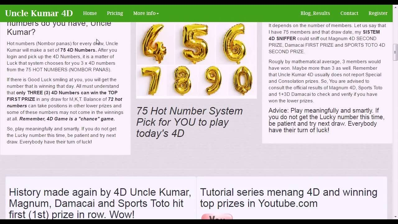 Uncle Kumar 4D history in Magnum, Damacai and Sports Toto by winning ...