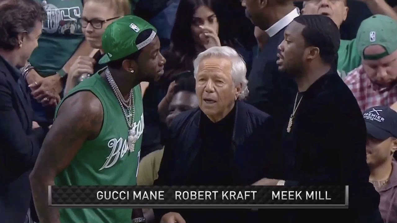 Gucci Mane Meek Mill and Robert Kraft at the Celtics game  Celtics vs 76ers f3ca4741793