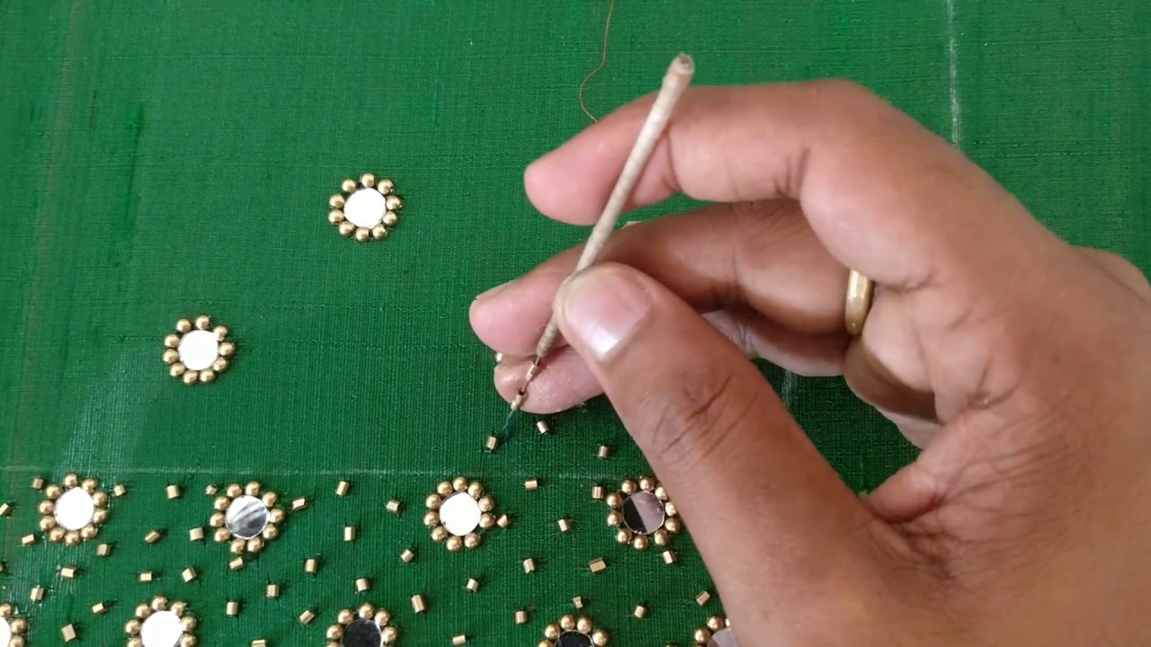 Fusion of Mirror work and Bead Work - YouTube