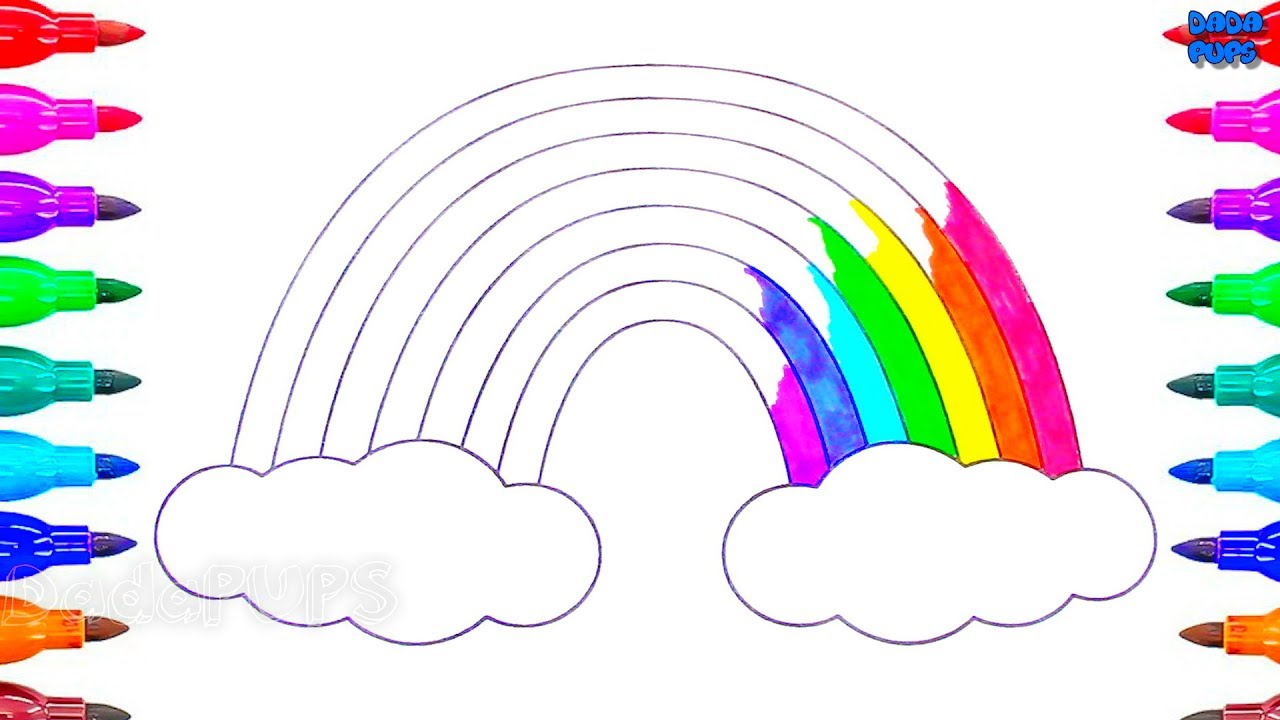Learning Colors With A Rainbow Rainbow Coloring Pages Art Colours For Kids Learn Colors Rainbow Youtube