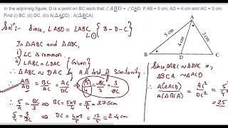 115: Ähnlichkeit: Wenn AB = 5 cm, AD= 4 cm und AC=3 cm, zu Finden (1)BC, (2)DC, (3)A(△ACD) : A(△BCA).