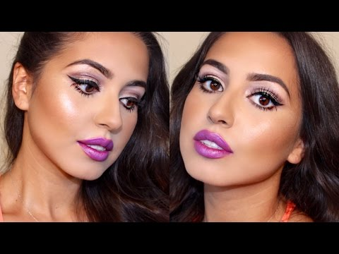 Big Doll Eyes & Purple Lips Makeup Tutorial!