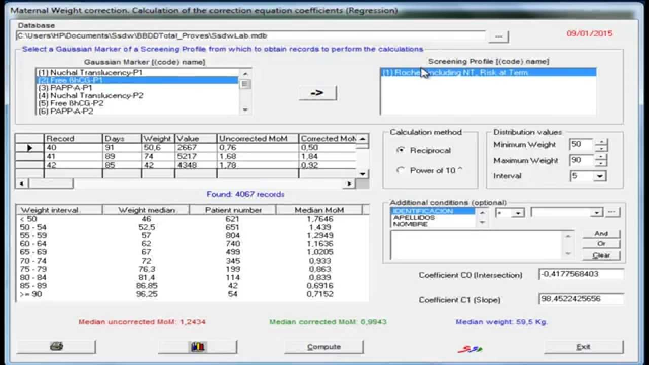 How to calculate correction factors for maternal weight with SsdwLab 5?