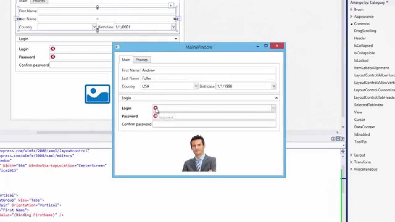 DevExpress WPF Editors: Form Layout