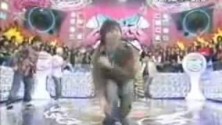 Daichi Miura (light blue shirt) dances with Japanese group Da Pump ...
