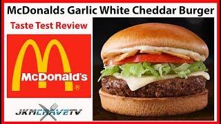 McDonald's NEW Garlic White Cheddar Burger Taste Test Review 🍔 | JKMCraveTV