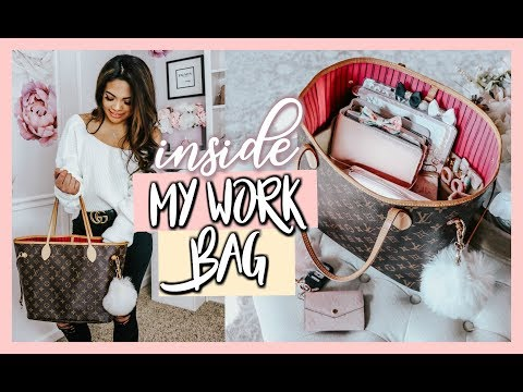 WHAT'S INSIDE MY WORK BAG   LOUIS VUITTON NEVERFULL MM