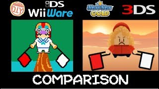 WarioWare D.I.Y series (DS and WiiWare) vs WarioWare Gold Microgame comparison.