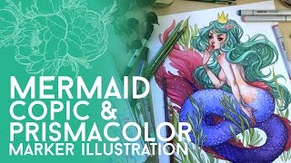 Full Marker Mermaid Illustration // Copic and Prismacolor Markers // Jacquelin deleon