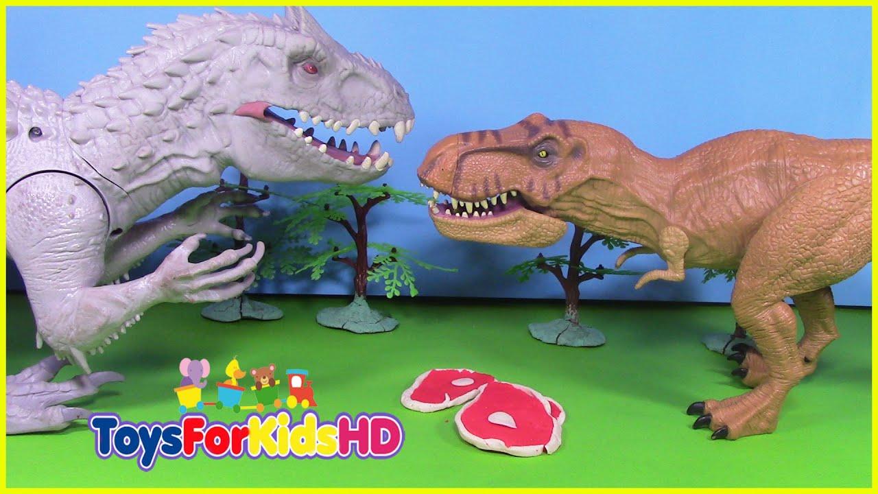 Vídeos de dinosaurios para niños INDOMINUS REX VS T-REX Juguetes de ...