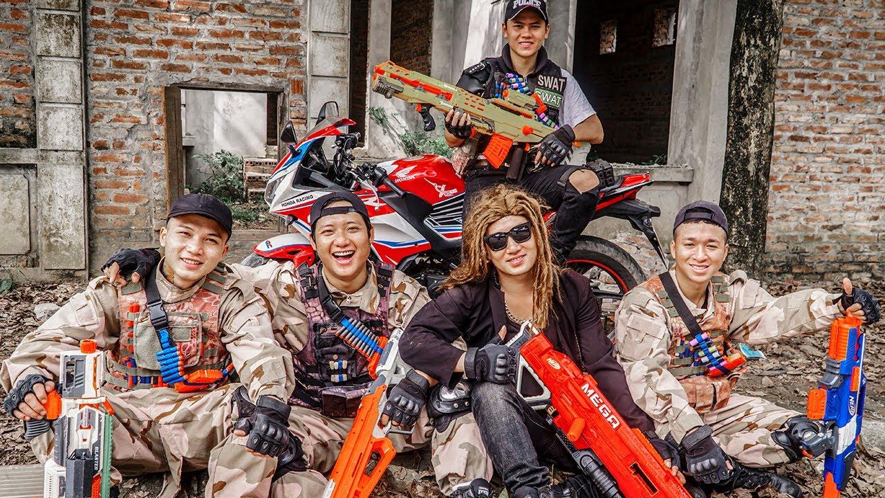 LTT Game Nerf War : Warriors SEAL X Nerf Guns Fight Crime Rocket Group Criminals Flee