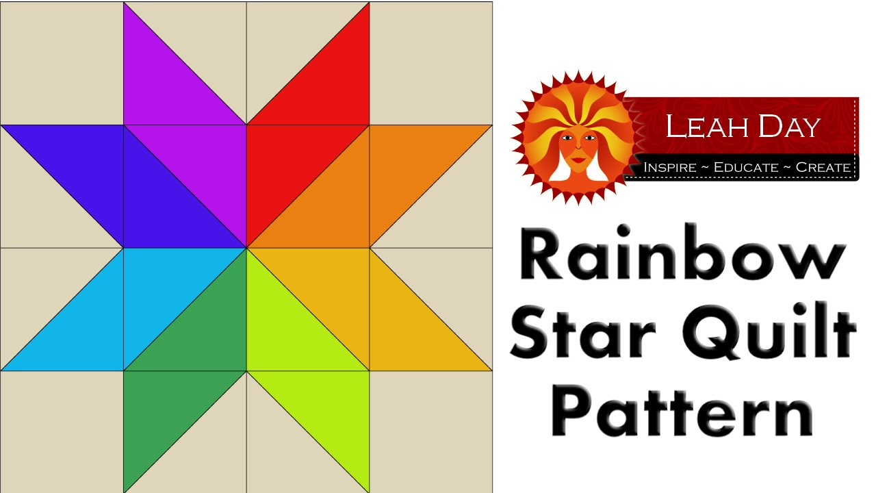 Twin Rainbow Star Easy Quilt Pattern Free Quilting Tutorial With