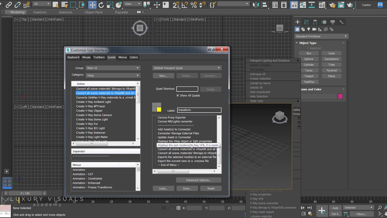 How to find and use the Vray Scene Converter option in 3ds Max