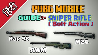 Guide :- Sniper ( Bolt Action ) Pubg mobile | How to use sniper Rifle | Pubg mobile Hindi