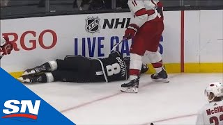 Drew Doughty Slow To Get Up After Awkward Hit From Jordan Staal