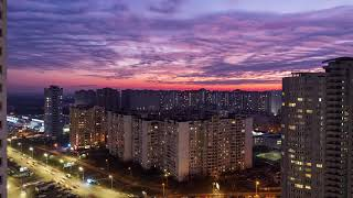 Крутой закат в Киеве. Вид из окна