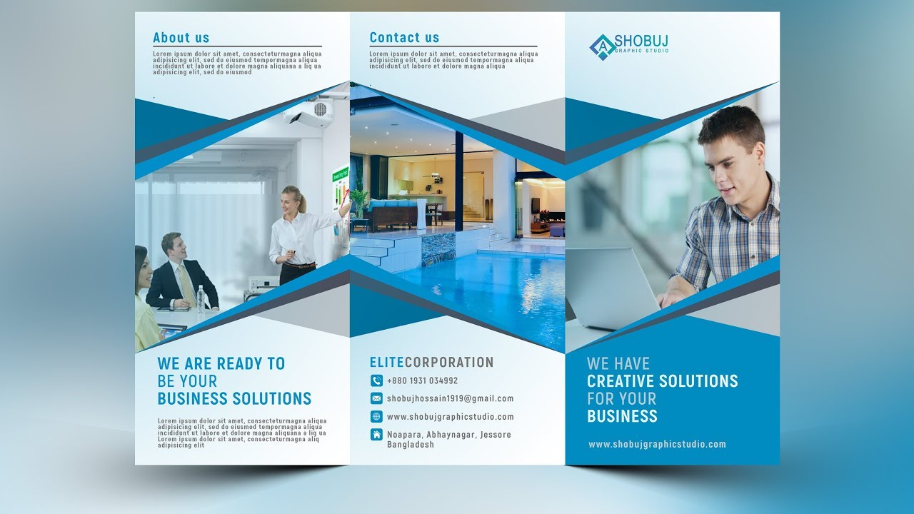 how to create a corporate tri fold brochure in photoshop