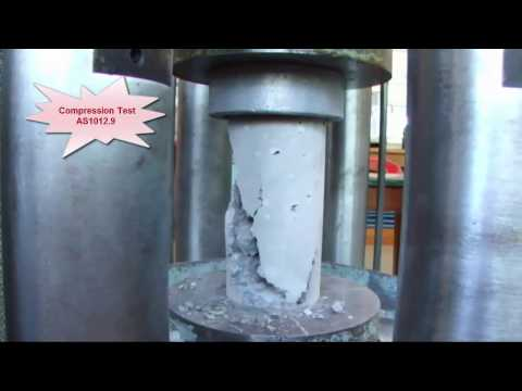 Compression testing of concrete cylinders