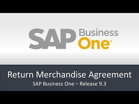 SAP Business One 9 3   Return Management Agreement