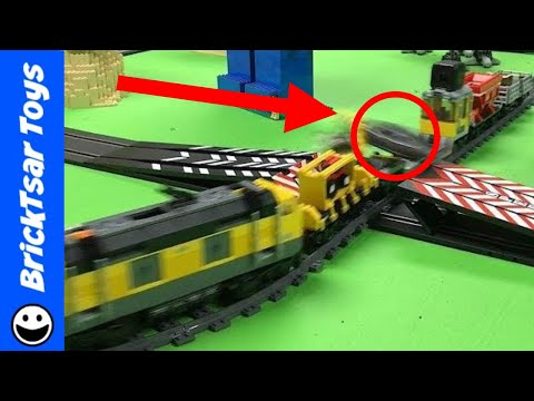 LEGO Train vs Carrera Slot Cars Jump & Crossing
