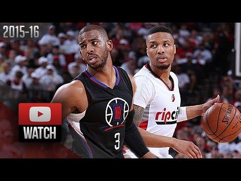 Damian Lillard vs Chris Paul PG Duel Highlights 2016 Playoffs R1G3 Blazers vs Clippers - ELITE!