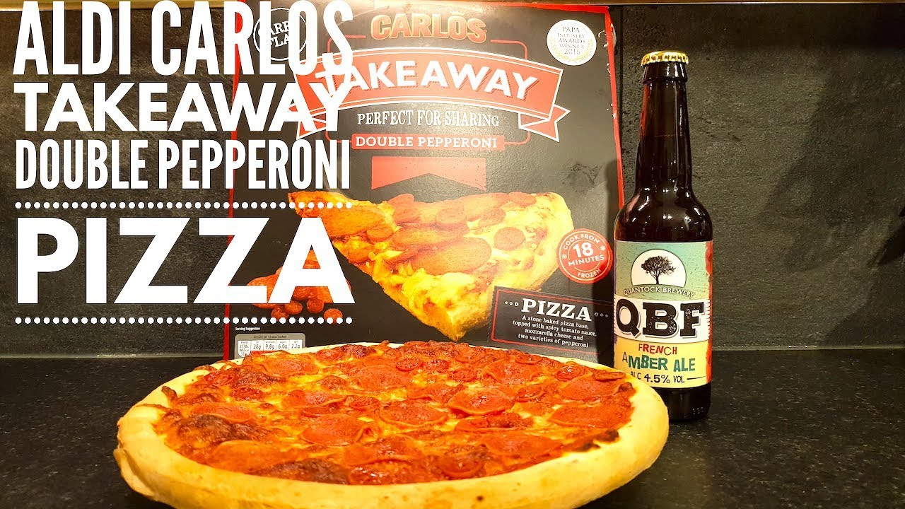 Aldi Carlos Takeaway Double Pepperoni Pizza With Quantock French Amber Ale