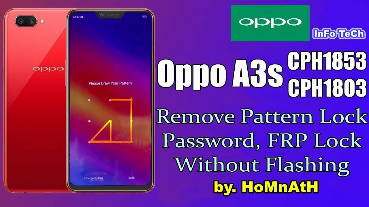Oppo A3s CPH1853 Pattern Lock. Password Remove Without Flash. All oppo PIN lock remove & frp unlock. - YouTube