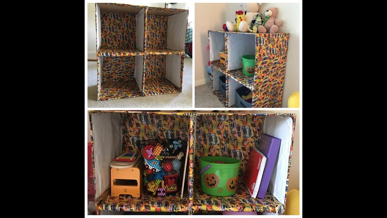 diy cardboard box shelves - youtube