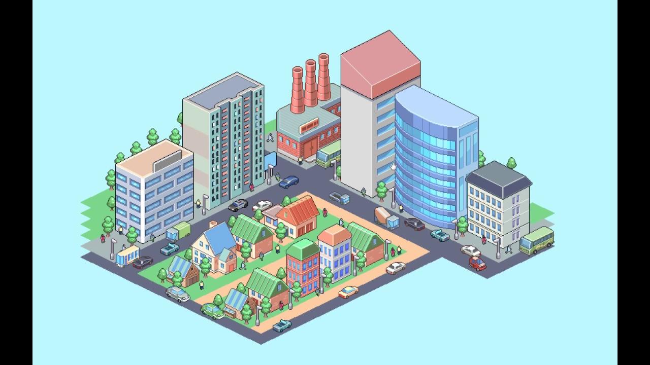 how to create pixelart isometric city using photoshop youtube. Black Bedroom Furniture Sets. Home Design Ideas