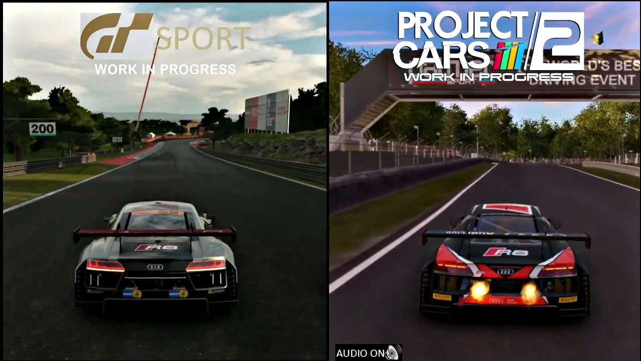 gran turismo sport vs project cars 2 sounds graphics audi r8 youtube. Black Bedroom Furniture Sets. Home Design Ideas