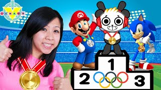 Combo and Ryan's mommy compete in Tokyo Olympic with Mario and Sonic!