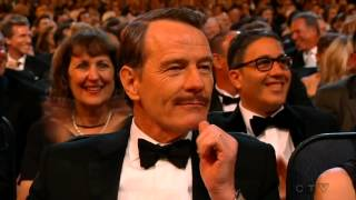 julia louis dreyfus wins an emmy and kisses with bryan cranston 2014