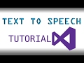 How to make a Text To Speech application in Visual Studio (VB.NET) 2017
