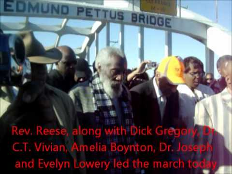 Rev Reese prays at the edmund pettus bridge 2012