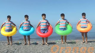 Five Little Babies Jumping on the Beach | Learn colors with Swim Rings