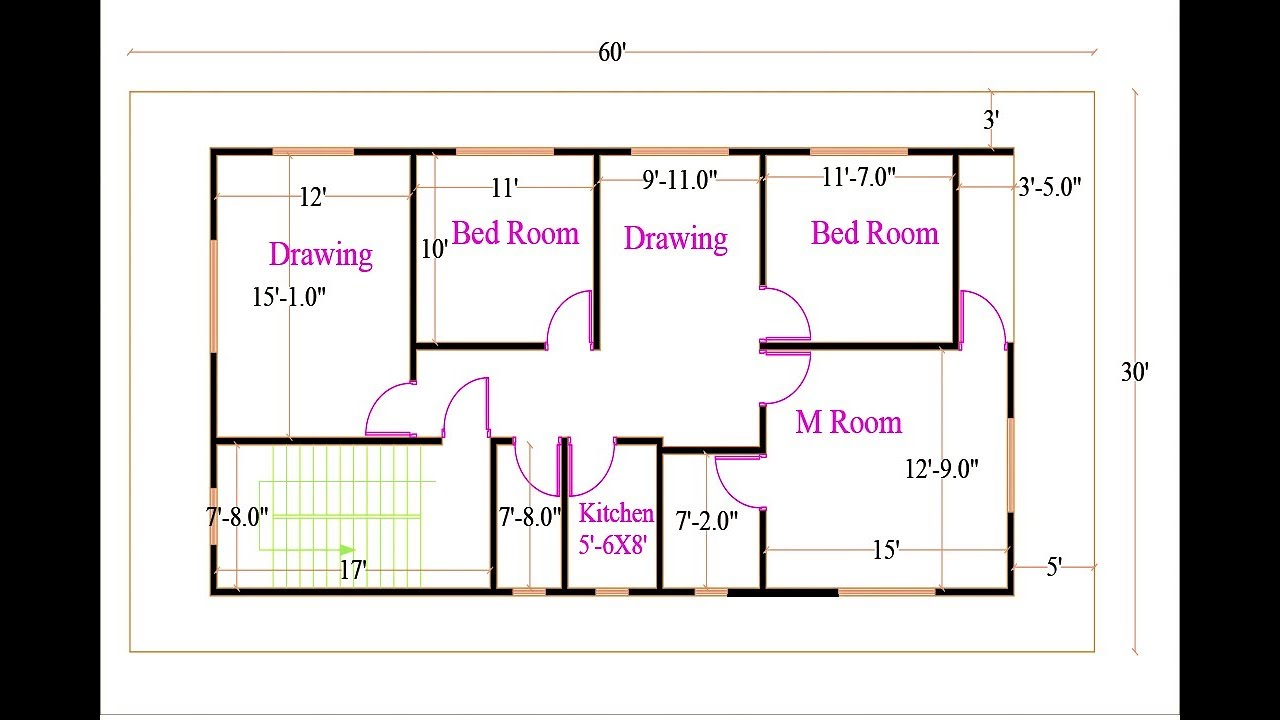2D floor plan in AutoCAD  Floor plan complete Tutorial
