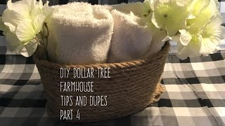 DIY Dollar Tree  Farmhouse  Tips and Dupes  Part 4 Rope Basket