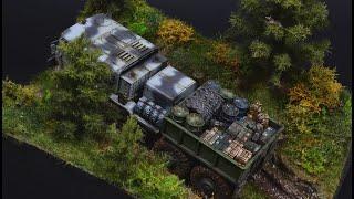 MAZ- 537 Soviet Tractor in Forest - Diorama 1/72