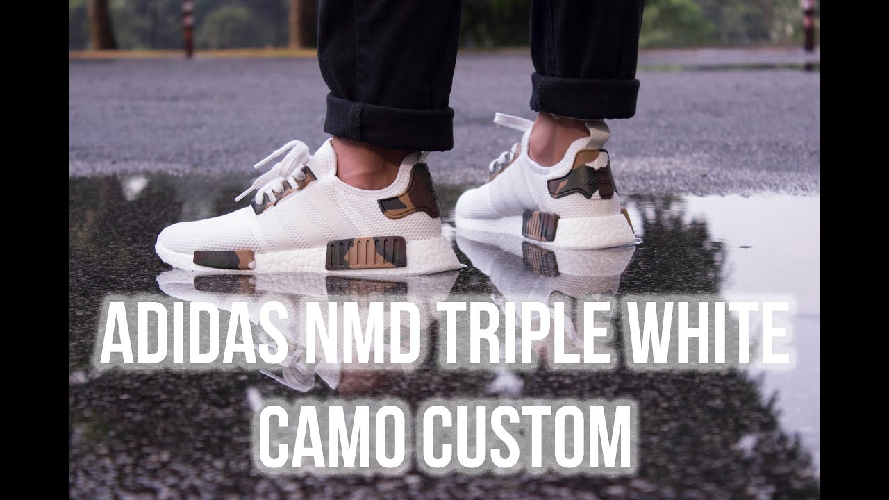 4d159107524c8 ADIDAS NMD TRIPLE WHITE CAMO CUSTOM + ON FEET LOOK - YouTube