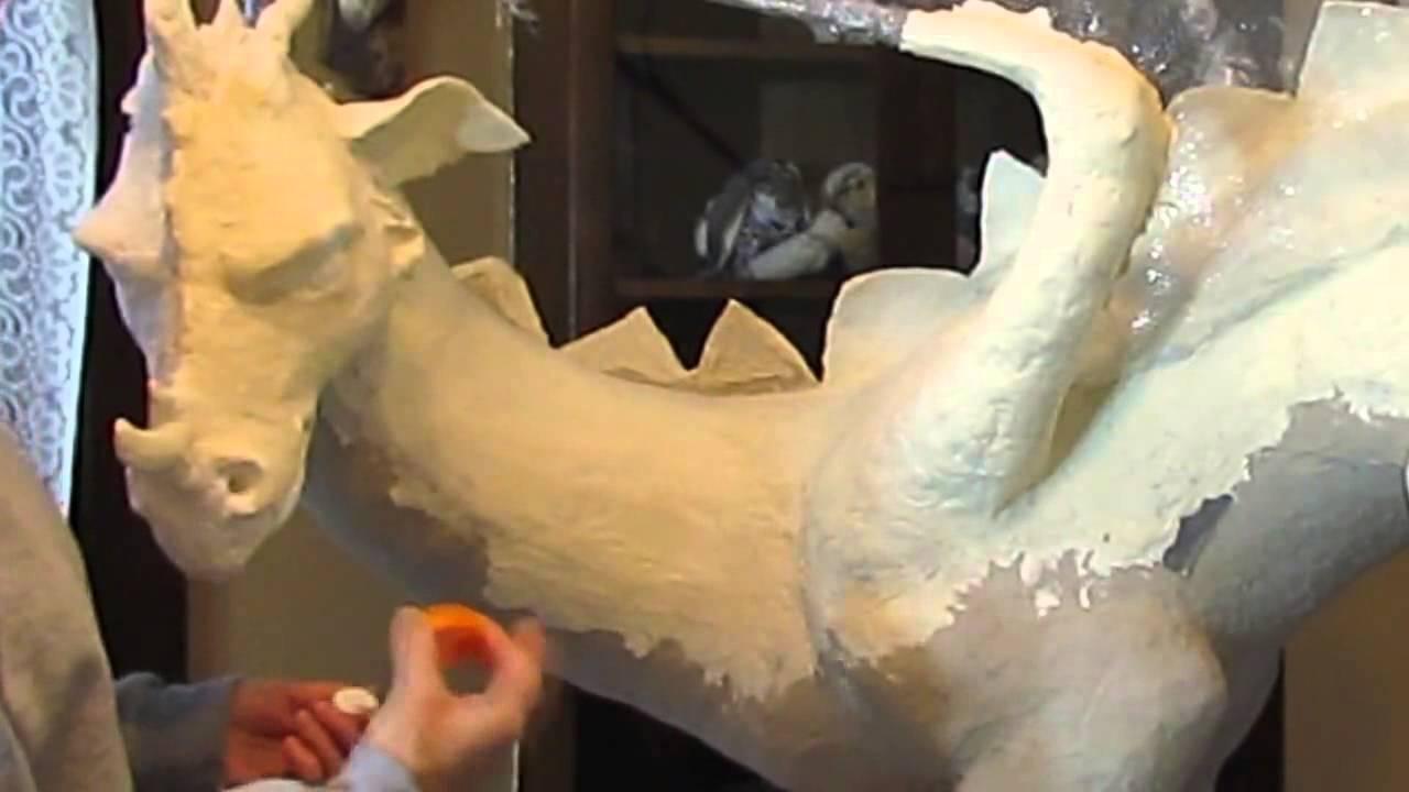 Dragon paper mache clay in progress youtube
