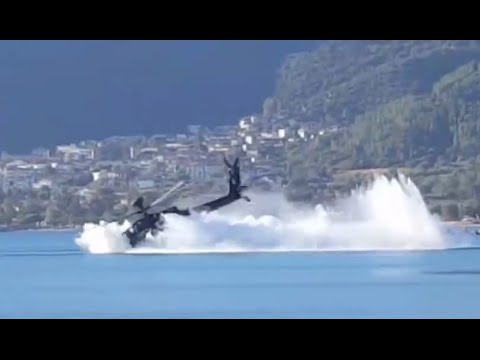 Dramatic: Apache helicopter slams nose-down into sea during exercise in Greece