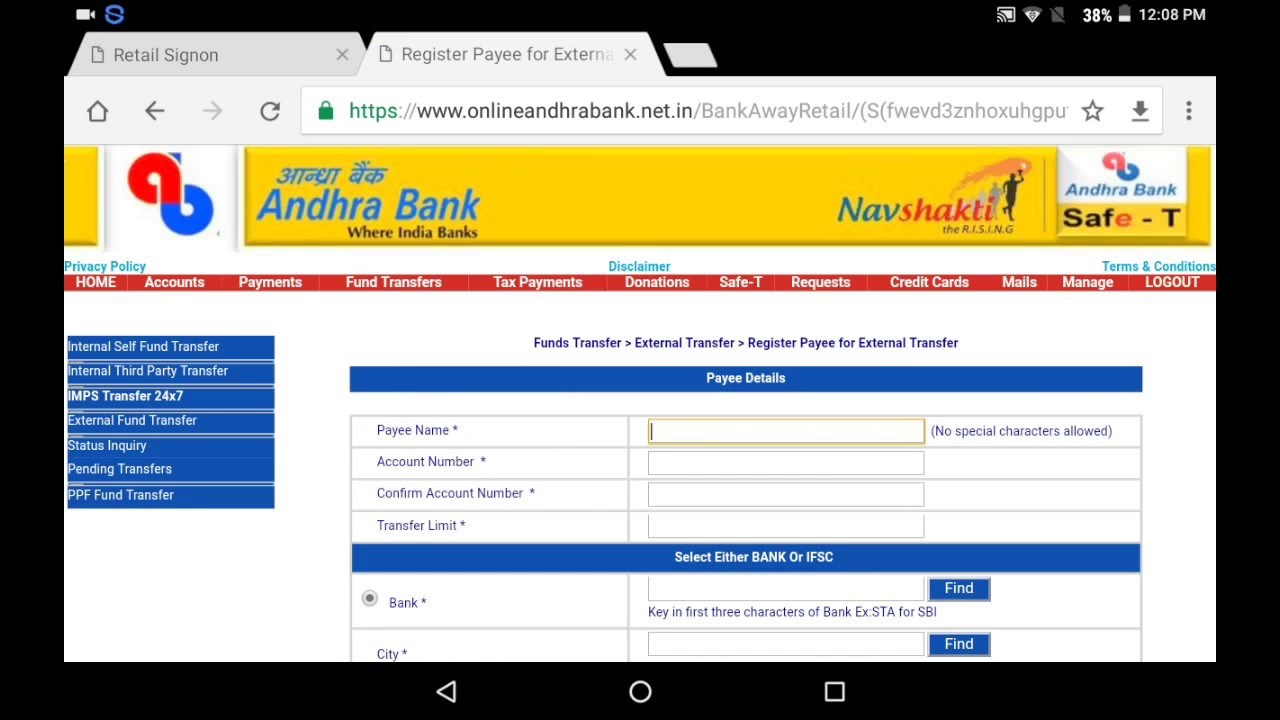 andhra bank corporate internet banking form