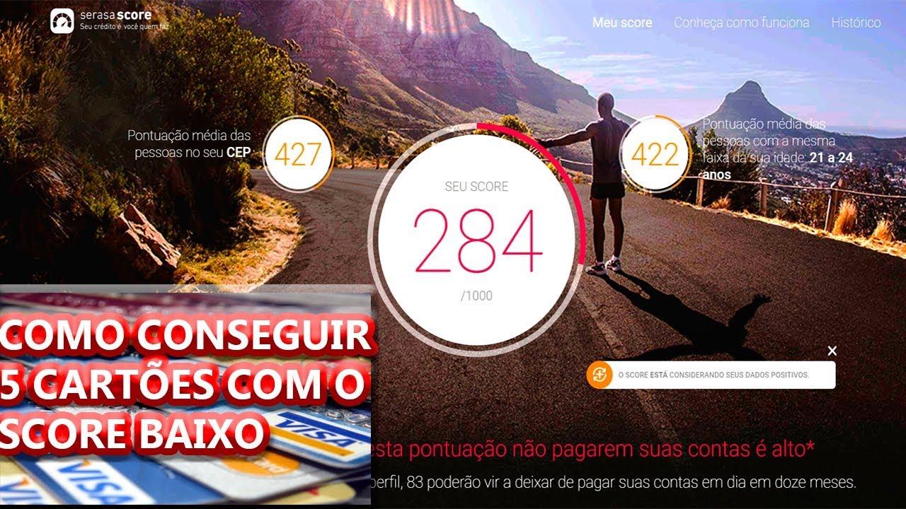 SCORE BAIXO  COMO CONSEGUI 5 CARTÕES DE CREDITO COM SCORE DE 284 ... 982be622c6