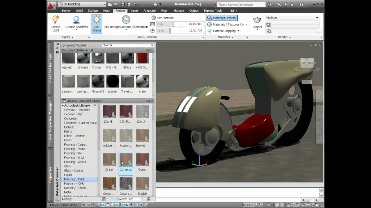 Materials Library Autodesk Autocad 2014 Youtube